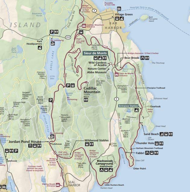מפת הפארק הלאומי אקדיה