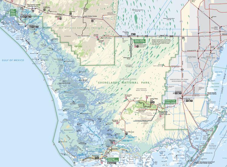 """מפות של הפארקים הלאומיים של ארה""""ב - אברגליידס"""