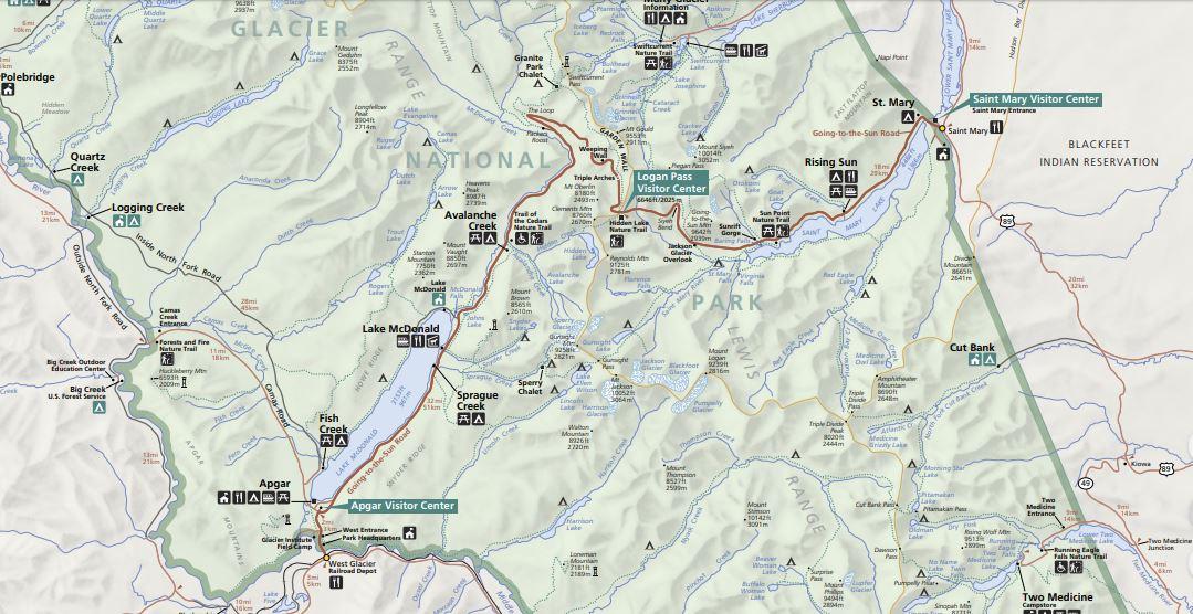 """מפות של הפארקים הלאומיים של ארה""""ב - גליישר"""