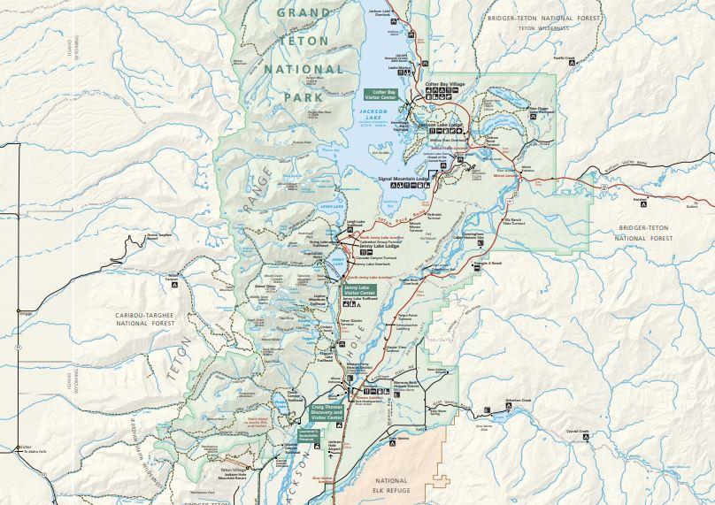 """מפות של הפארקים הלאומיים של ארה""""ב - גרנד טיטון"""