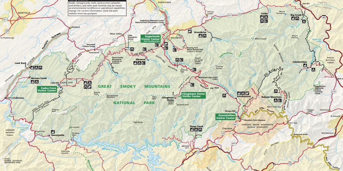 """מפות של הפארקים הלאומיים של ארה""""ב - הרי הסמוקי"""