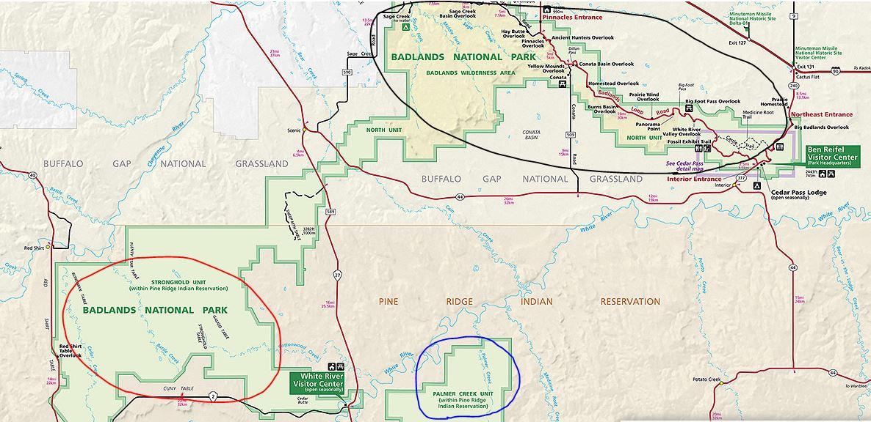 פארק בדלנדס מפת אזורי השמורה