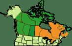 מפת מרכז ומזרח קנדה