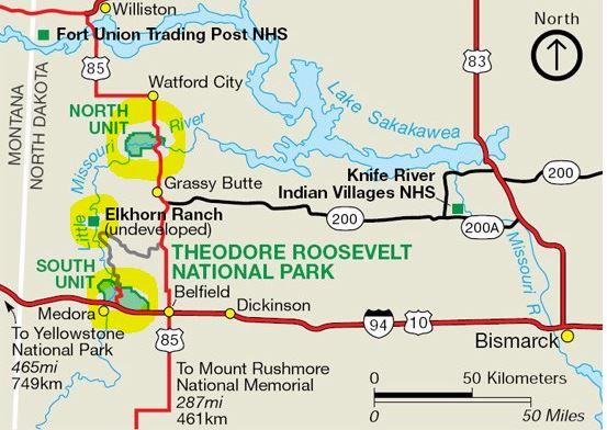 מפת התמצאות פארק תאודור רוזוולט
