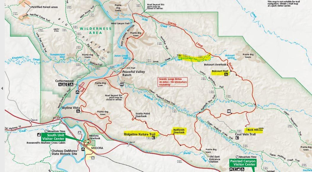 מפת האזור הדרומי פארק תאודור רוזוולט