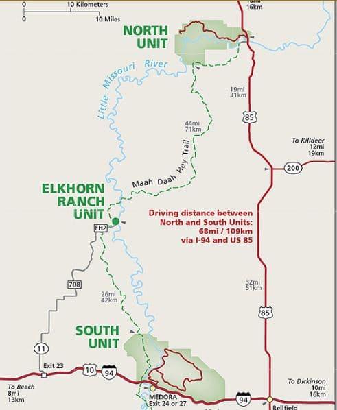 מפת אזורי השמורה פארק תאודור רוזוולט