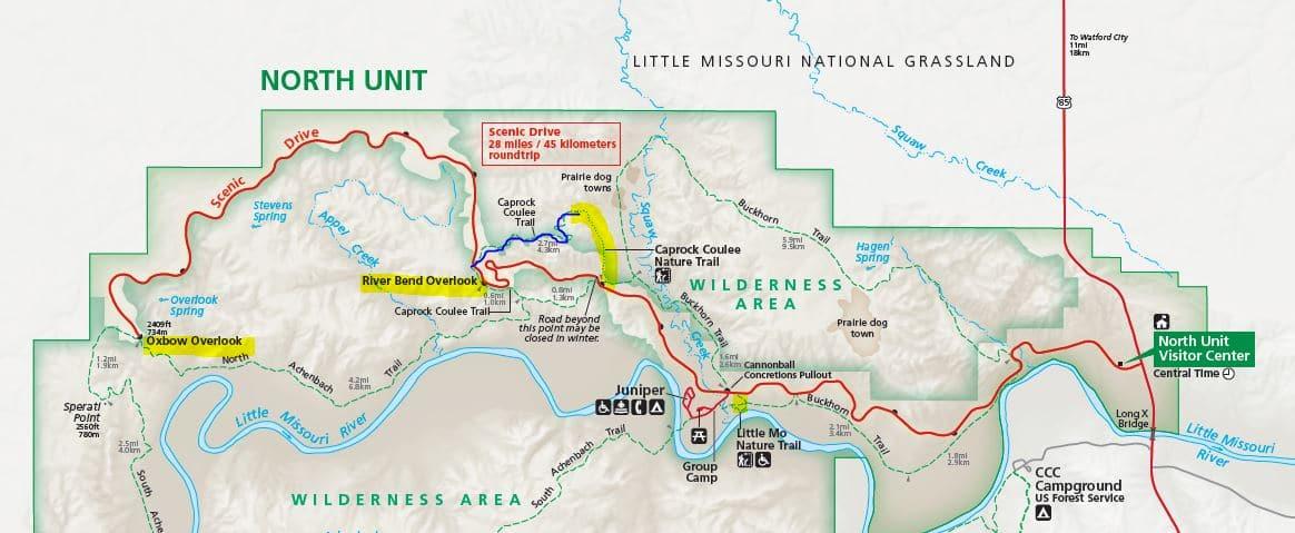 מפת האזור הצפוני פארק תאודור רוזוולט
