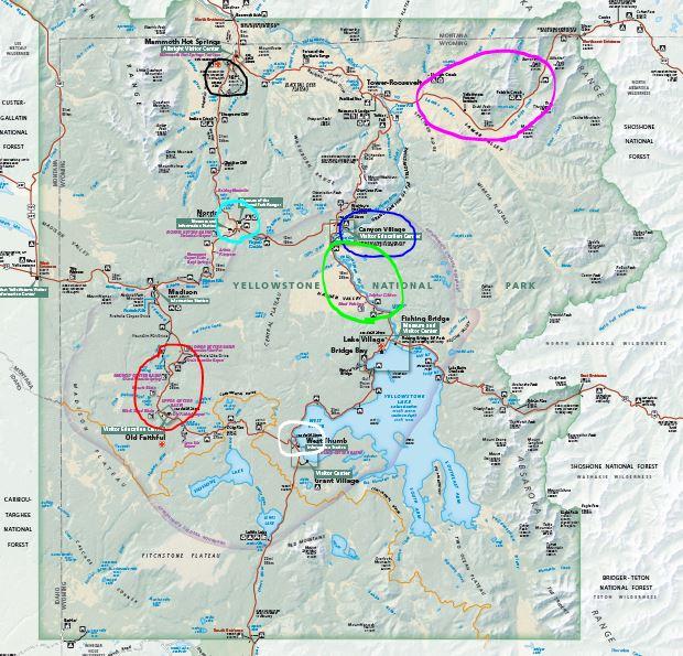 מפת אזורים פארק ילוסטון